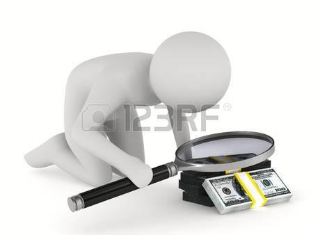 Man avec loupe sur fond blanc isolated image 3d 1